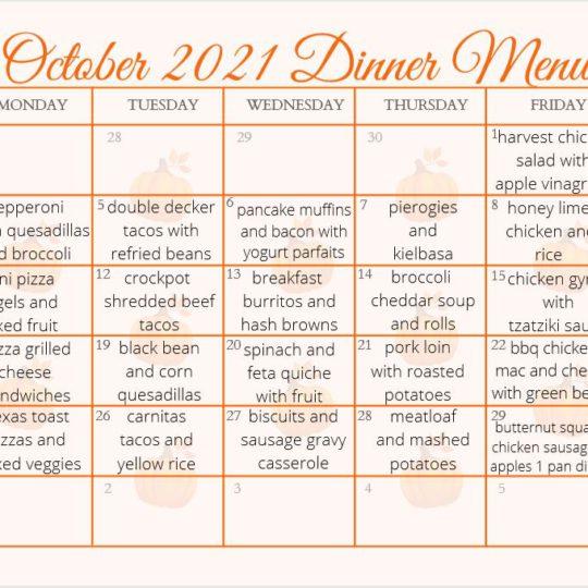 Free Printable October Meal Ideas Calendar